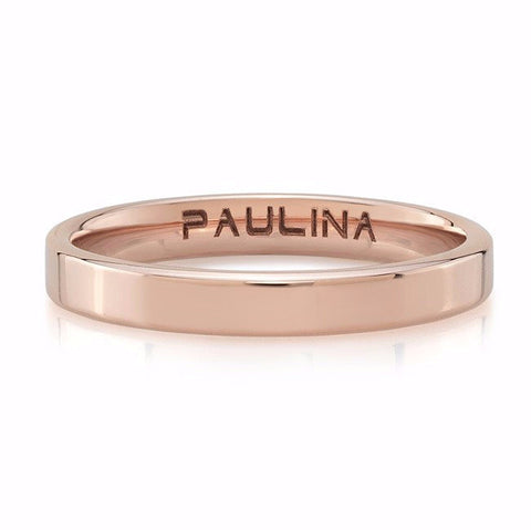Plain band made by hand in solid 18k. Available in solid rose, yellow and white gold. Made by hand and to order in USA. Free shipping on all domestic orders. www.paulinajewelry.com