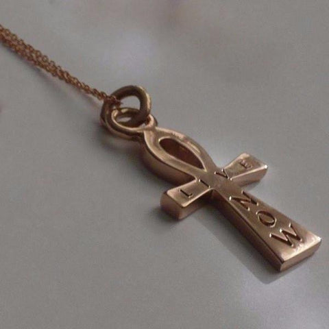 The William Live Now Ankh is made by hand in solid 14k gold and 14k Italian gold chains. Available in solid rose, yellow and white gold. Made by hand in USA. Also available in solid sterling silver. www.paulinajewelry.com