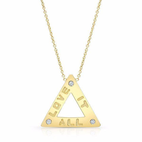 "The ""Love it All"" necklace is made by hand in solid 18K gold, 18K Italian gold chains and 3 brilliant diamonds. Available in solid 18K rose, yellow and white gold. Made by hand in USA. Expected shipping: 3-5 business days."