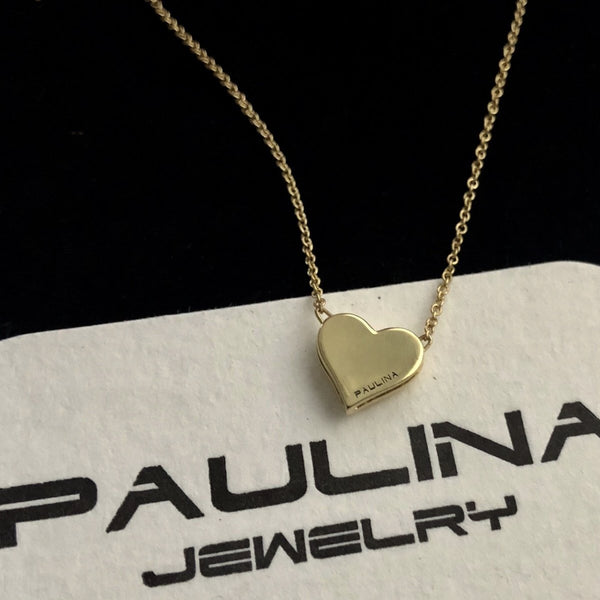 Paulina Jewelry- handmade heart necklace in solid 18K gold