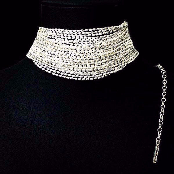 The Corinna choker is made by hand in solid sterling silver and Italian sterling silver chains. Made by hand and to order in USA. www.paulinajewelry.com