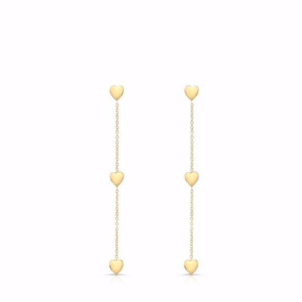 The Devin Blue earrings are made by hand in solid gold and Italian gold chains. Available in solid rose, yellow and white gold. Made by hand in USA.
