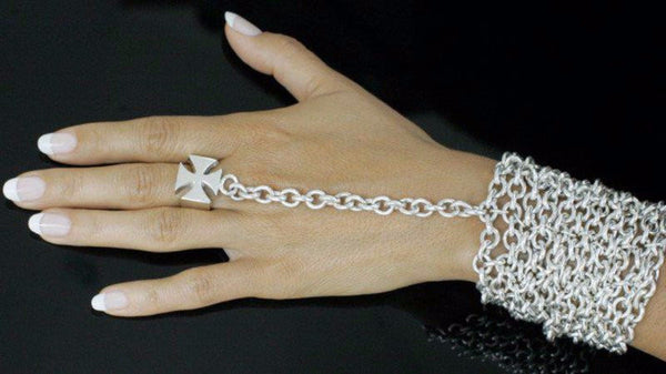 The Zane ring bracelet is made by hand in solid sterling silver and Italian sterling silver chains. Made by hand and to order in USA. Free shipping on all domestic orders. www.paulinajewelry.com