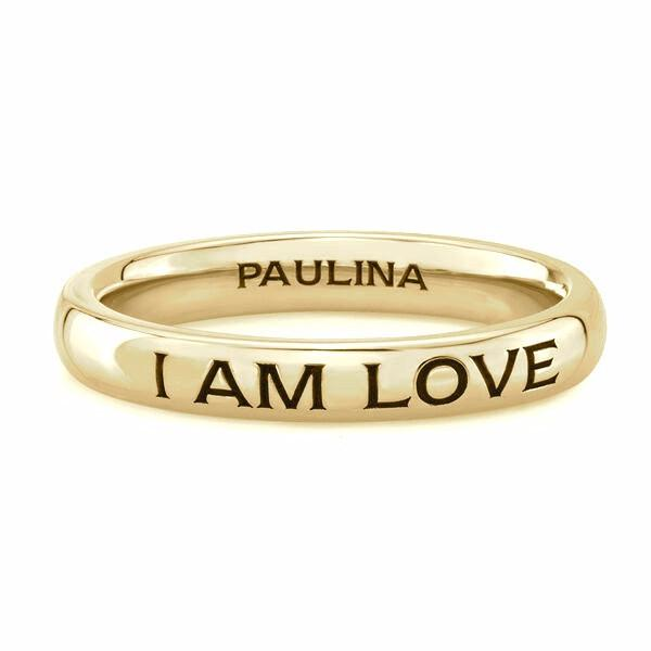 I AM LOVE ring made by hand in solid in 18k gold. Available in solid 18k rose, yellow and white gold. Expected shipping 3-5 business days. Made by hand in USA