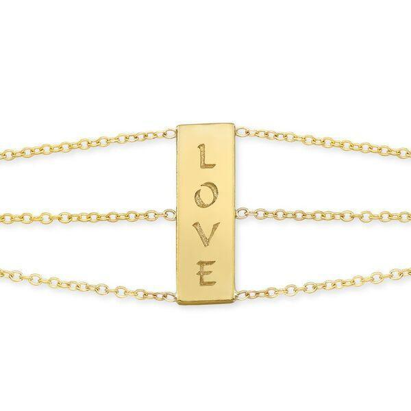 The LOVE 3 chains bracelet is made by hand in solid 18K and 18k Italian gold chains. Available in solid rose, yellow and white gold. The small tag is embellished with a signature white diamond. Made by hand in USA. Expected shipping: 3 business days.
