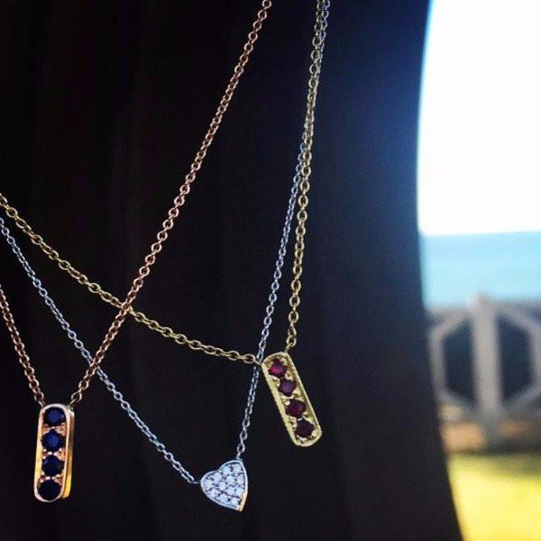 Dainty Mini bar necklaces made by hand in solid 18k gold, 18k Italian gold chains and rubies, sapphires and diamonds. Available in solid 18k rose, yellow and white gold. Made by hand in USA. Expected shipping 3-5 business days