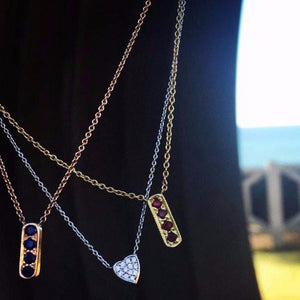 Dainty mini bar necklaces made by hand in solid 18k gold, 18k Italian gold chains and sapphires. Available in solid 18k rose, yellow and white gold and also with rubies and diamonds. Made by hand in USA. Expected shipping 3-5 business days.