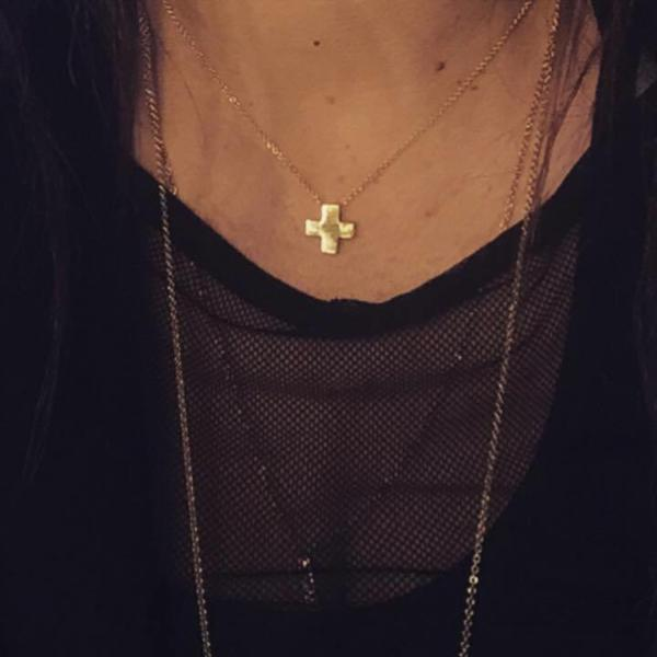 Cross made by hand in solid 14k gold and 14k Italian gold chains. Available in solid rose, yellow and white gold. Expected shipping: 3 business days. Made by hand in USA.  www.paulinajewelry.com