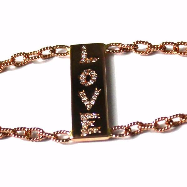 The Love 2 chains bracelet with diamonds is made by hand in solid 18k gold, 18k handmade gold chains and brilliant diamonds. The small tag is embellished with a signature white diamond. Made in USA. Expected shipping: 5 business days