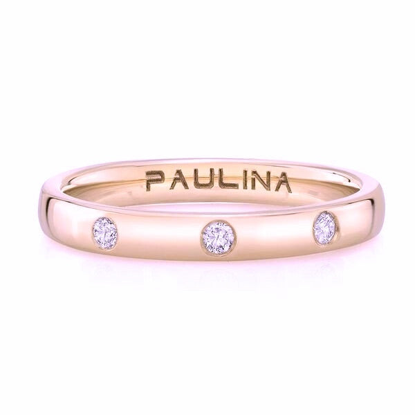 The 3 diamond ring is made by hand in solid gold and 3 round brilliant diamonds. Available in rose, yellow and white gold. Made by hand in USA. Free shipping with the US