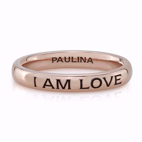 "The ""I Am Love"" rings are made by hand in solid 14k gold and are available in solid rose, yellow and white gold. Also available custom made in 18K.  Made by hand and to order in USA. Expected shipping 3-5 business days. Free shipping on all domestic orders. www.paulinajewelry.com"