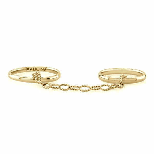 The Rafaella Rings are made by hand in solid 14k gold and handmade gold chains. Available in rose, yellow and white gold. Made by hand and to order in USA. Free shipping on all domestic orders. www.paulinajewelry.com