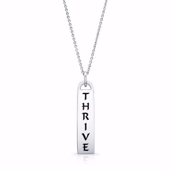 The Corrine Id Tag Necklaces in solid sterling silver & Italian silver chains. Also available in solid gold and custom made with diamonds. Among available ones...Thrive - I Am/ Love - Light  - Faith - Truth- Joy- Peace - Paix - Joie - Surrender - Trust....etc...Made by hand in USA. Free shipping within the US