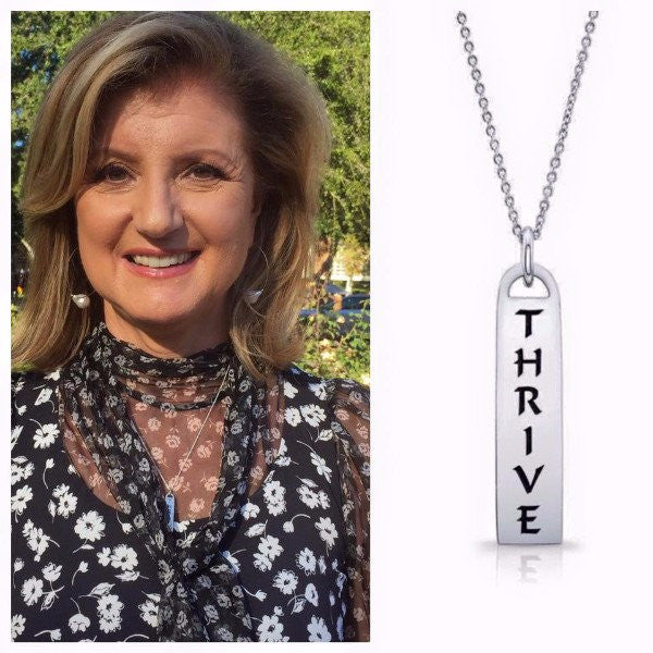 Arianna Huffington- Paulinajewelry.com -The Corrine Id Tag Necklaces in solid sterling silver & Italian silver chains. Also available in solid gold and custom made with diamonds. Among available ones...Thrive - I Am/ Love - Light  - Faith - Truth- Joy- Peace - Paix - Joie - Surrender - Trust....etc...Made by hand in USA. Free shipping within the US