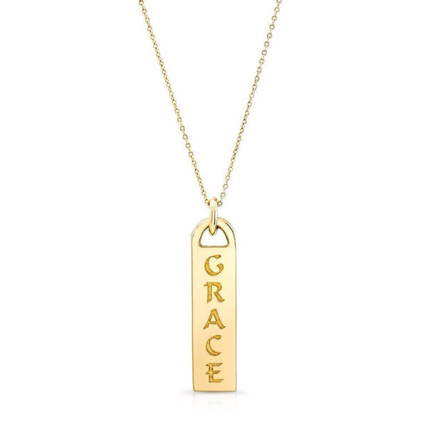 GRACE necklace made by hand in solid 14k gold. Among available ones:  JOY- LOVE - LIGHT - FAITH - I AM LOVE - SURRENDER - JUST BE - HAPPY - HEALTHY - BREATHE - PEACE - PAIX - JOIE - AMOUR - FOI - SURRENDER - UPWARD - ONWARD. Made by hand in USA.
