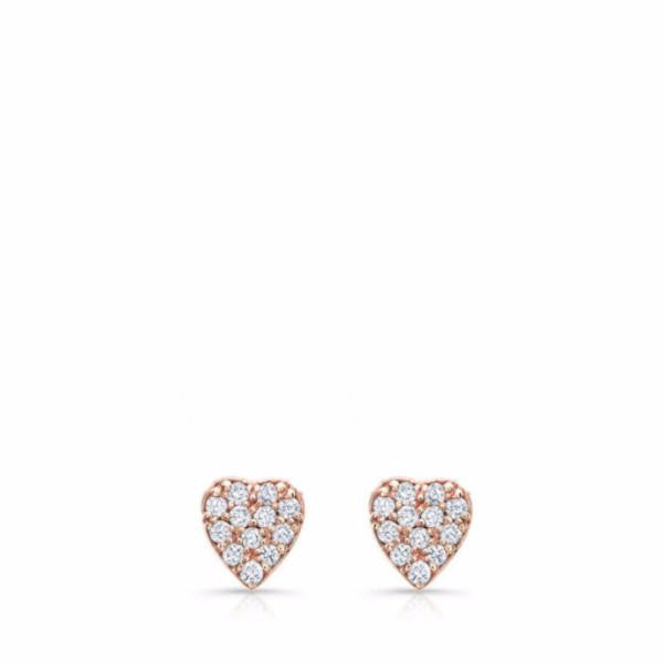 Dainty diamond heart studs made by hand in solid 18K gold and brilliant diamonds. Available in solid 18k rose, yellow and white gold. Made by hand in USA. Expected shipping : 3-5 business days.