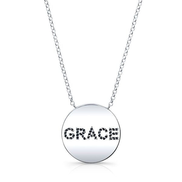 "GRACE necklace made by hand in solid 18k gold, Italian 18k gold chains and black diamonds. Length of the chain: 30"". Available in solid 18k white, rose and yellow gold. Made by hand in USA. Expected shipping :5-7 business days."