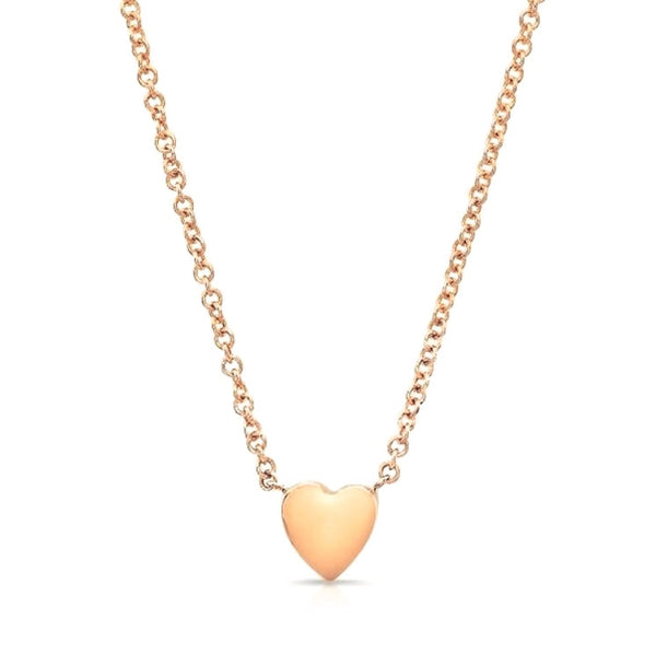 Heart necklaces made by hand in solid 18k gold and 18k Italian gold chains. Available in solid rose, yellow and white gold and also with diamonds. Made by hand in USA. Expected shipping 3 business days