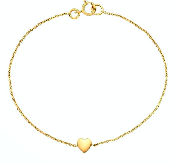 Dainty heart bracelets made by hand in solid gold & Italian gold chains. Available in rose, yellow and white gold and also in 18K & with diamonds. Made by hand in USA.