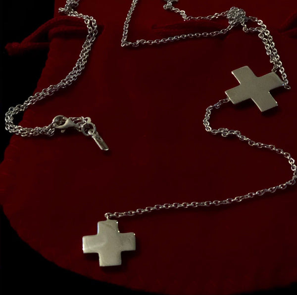 Double Cross Lariat in Silver