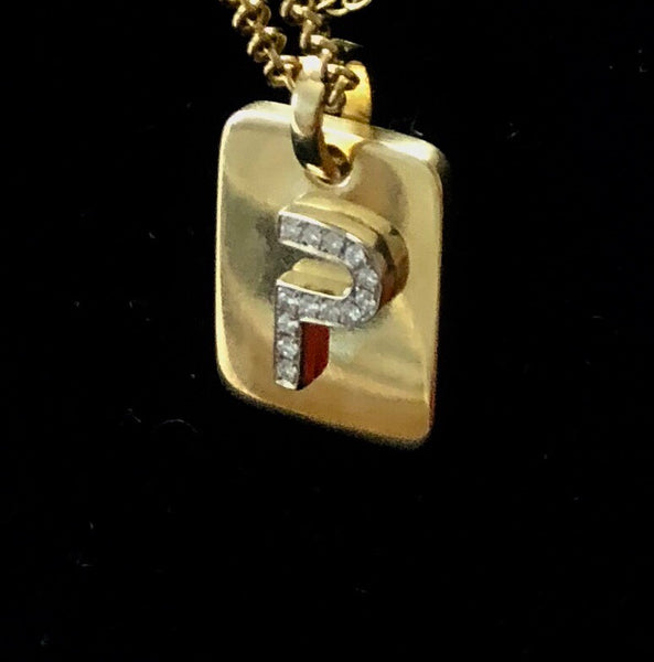 Initials Dog Tags in Solid 18K Gold and Diamonds