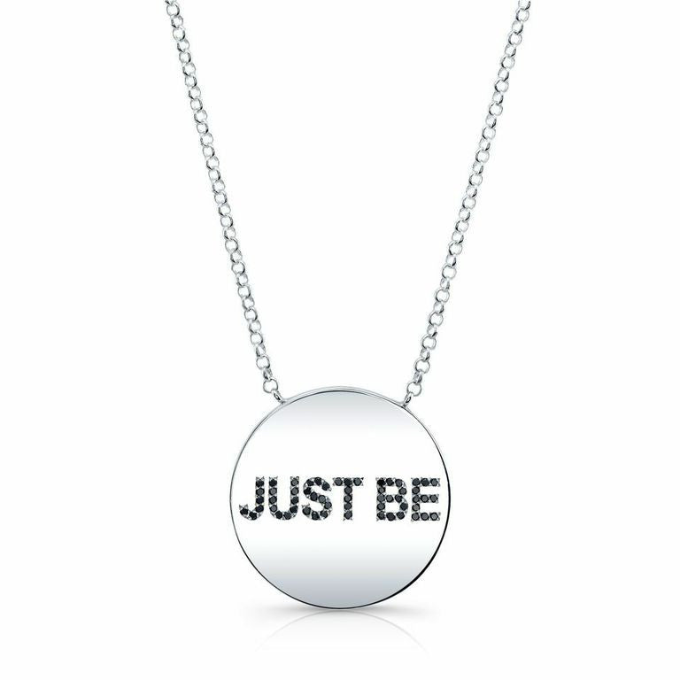 "The ANGELA ""Just Be"" Necklace in Silver And Diamonds"