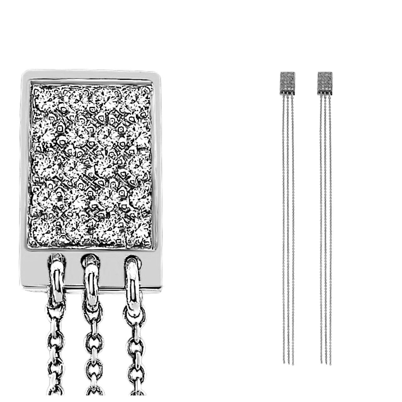 The JUSTINE Diamond Earrings In White Gold