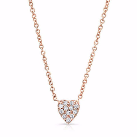 Diamond heart necklaces made by hand in solid 18k gold, 18k Italian gold chains and brilliant diamonds. Available in solid rose, yellow and white gold. Made by hand in USA.