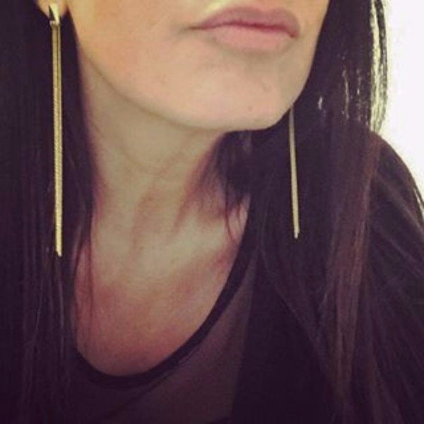 The Justine earrings are made by hand in solid 14k gold & Italian gold chains. The length of the chains is 5 inches long. They are available in solid rose, yellow and white gold and also in 18K and with diamonds. Made by hand in USA. Free shipping on all domestic orders. www.paulinajewelry.com
