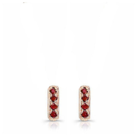 "Dainty mini bar studs made by hand in solid 18K rose gold and Burmese Rubies, the ""Pigeon Blood"" color. Available in solid 18k rose, yellow and white gold. Made by hand in USA. by Paulina jewelry.  Made by hand in solid 18K gold, diamonds and 18K Italian gold chains. Available in solid 18K white, yellow and rose gold."