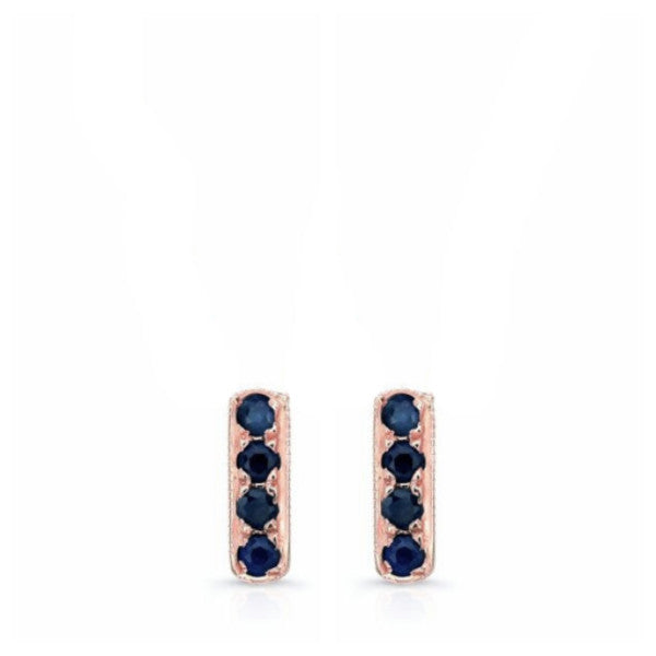 Mini Bar Studs in 18k Gold and Ceylon Sapphires