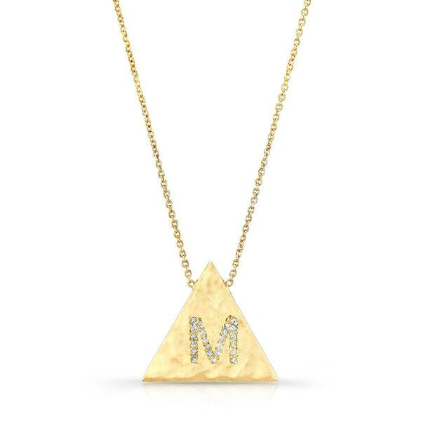 Initial Necklaces in Solid 18K Gold and Diamonds