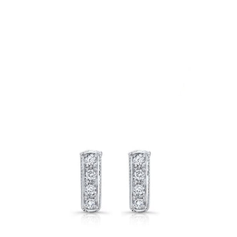 Mini bar studs in 18k white gold and diamonds