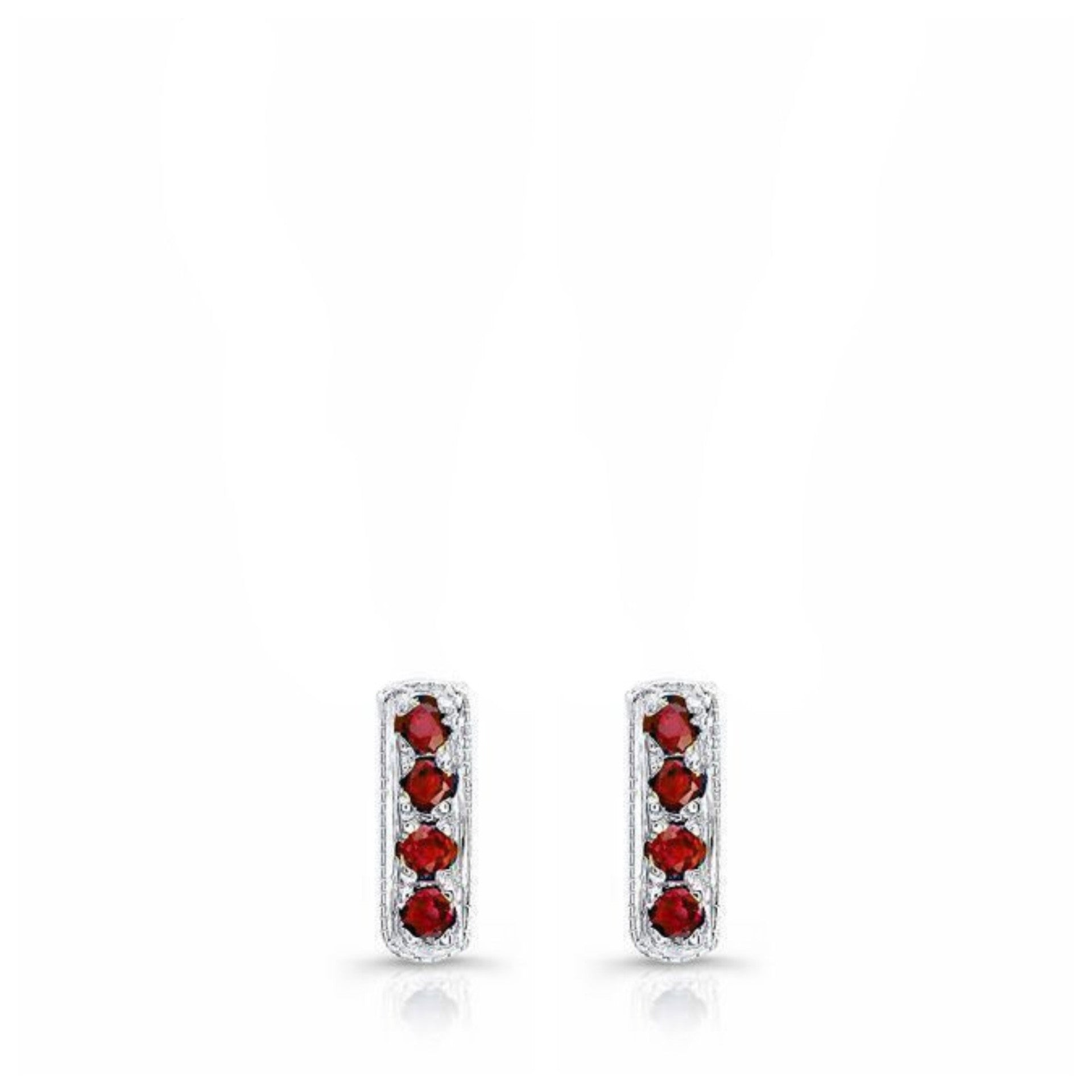 Mini Bar Studs in 18k White Gold and Burmese Rubies