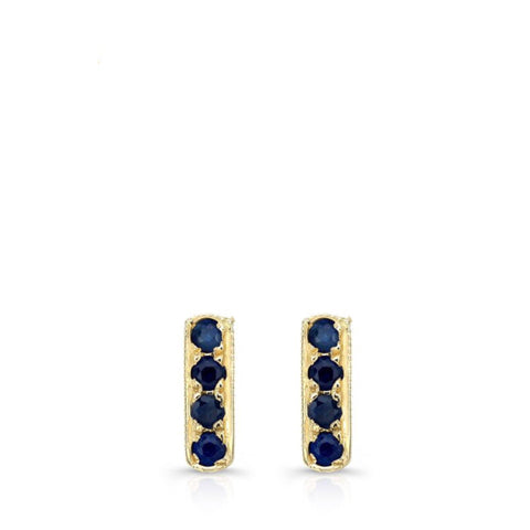 MIni Bar Studs made by hand in 18K gold and Ceylon Sapphires. Also available with other stones and in solid 18K rose, yellow and white gold. Made by hand in USA.