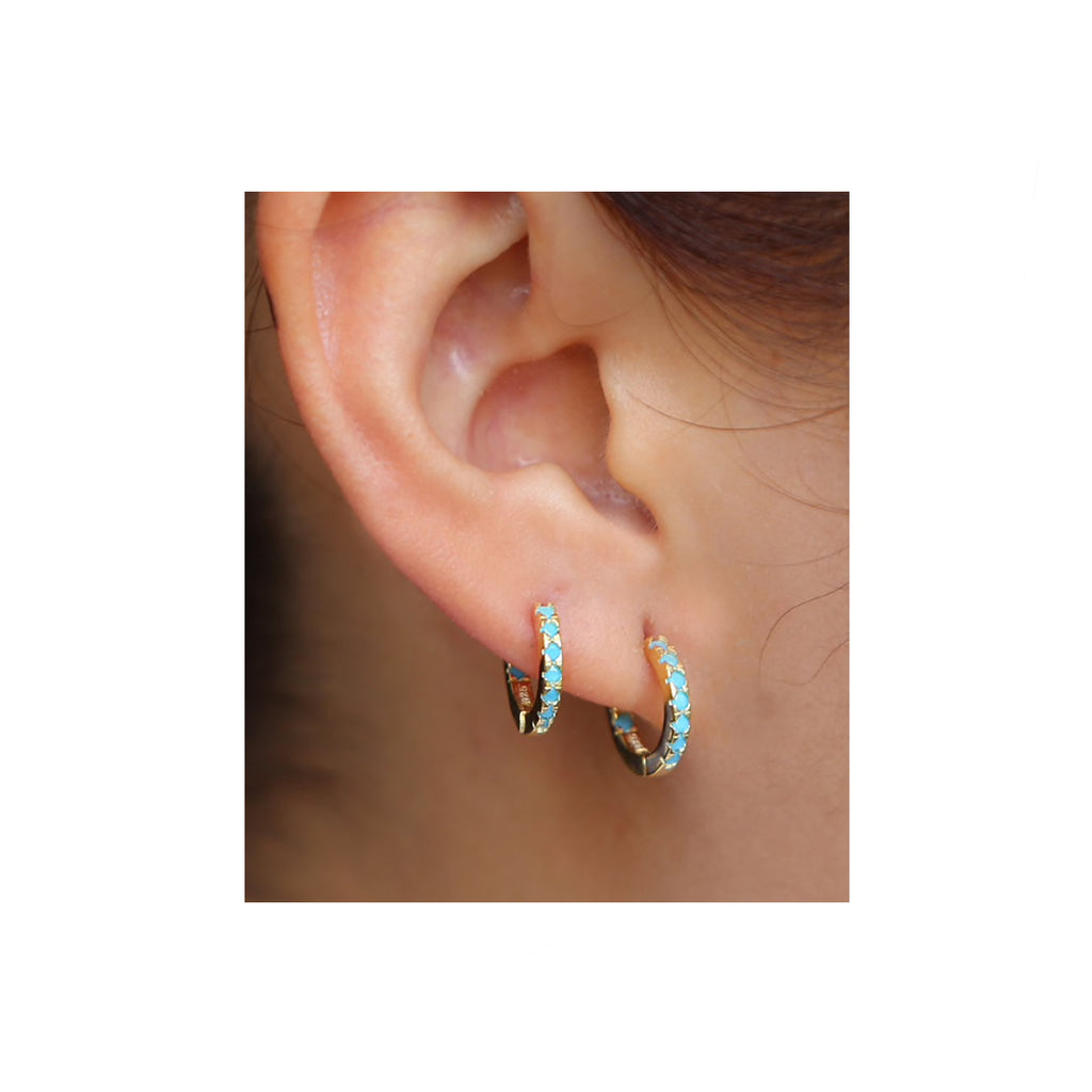 TINY TURQUOISE HOOPS
