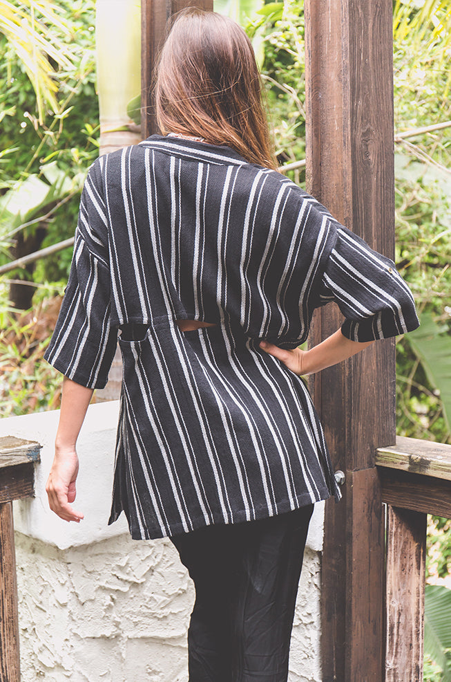 Black Stripes Blouse - Z&L Europe