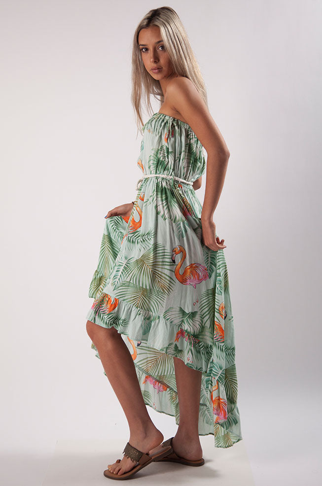 Flamingo Jungle Strapless Dress