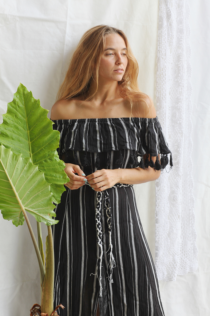 Black Stripes Maxi Dress - Z&L Europe