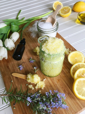 DIY salt scrub with lemon and rosemary and olive oil