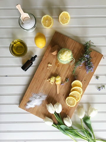 DIY salt scrub lemon and rosemary