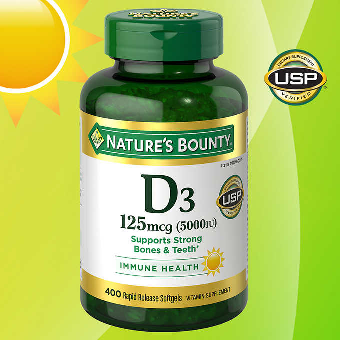 Витамин D3 Nature's Bounty 5000 IU, 400 капсул - Shopping TEMA
