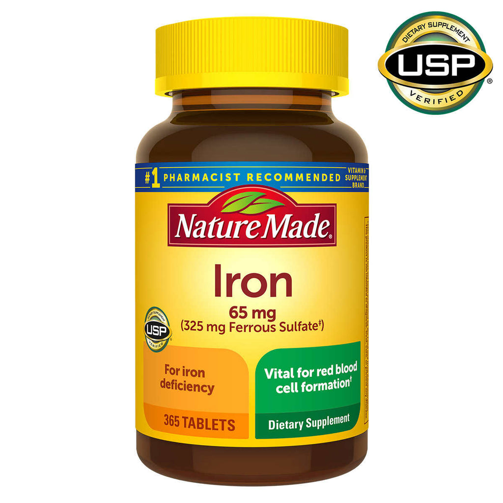 Железо Nature Made Iron 65мг, 365 капсул