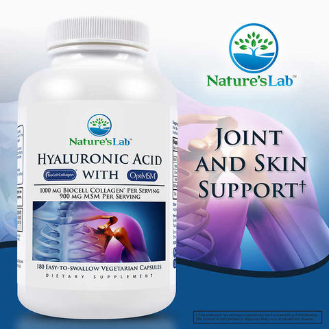 Комплекс для суставов Nature's Lab Hyaluronic Acid with BioCell Collagen, 180 капсул
