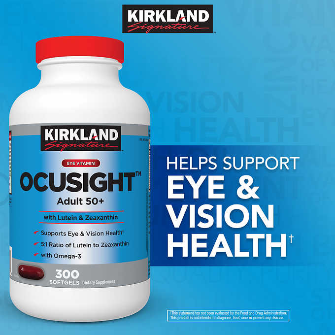 Поддержка Здоровья Глаз Kirkland Signature Ocusight Adult 50+, 300 капсул - Shopping TEMA