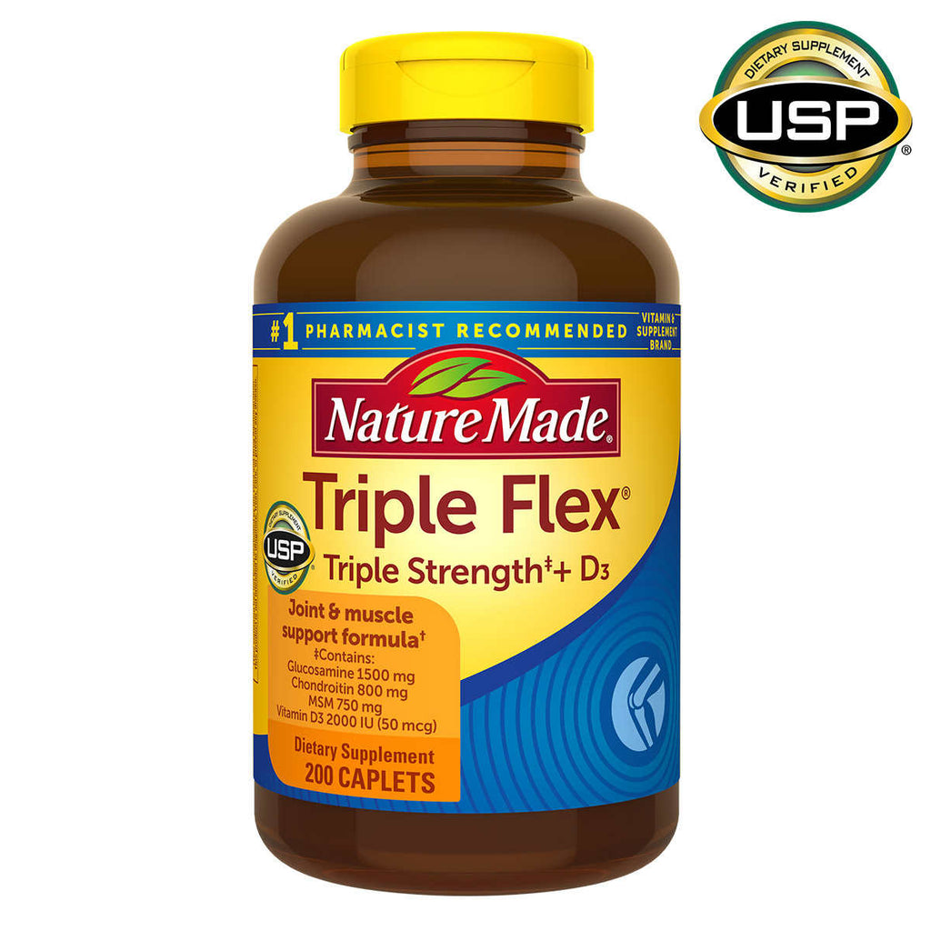 Глюкозамин Nature Made TripleFlex Triple Strength + D3, 200 т