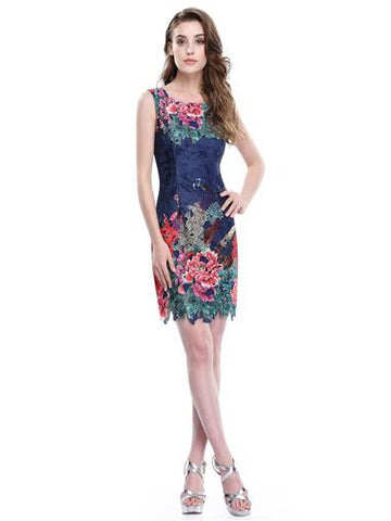 Fitted Floral and Peacock Casual Dress