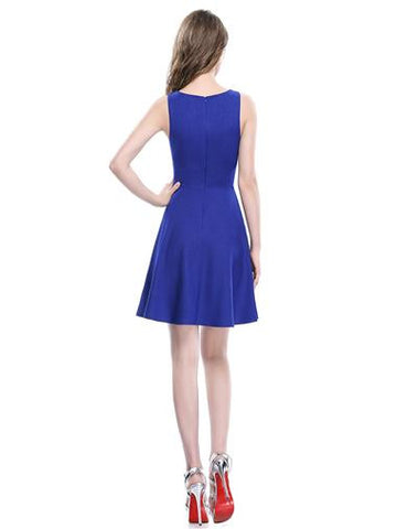 Simple Sapphire Blue Sleeveless Casual Dress