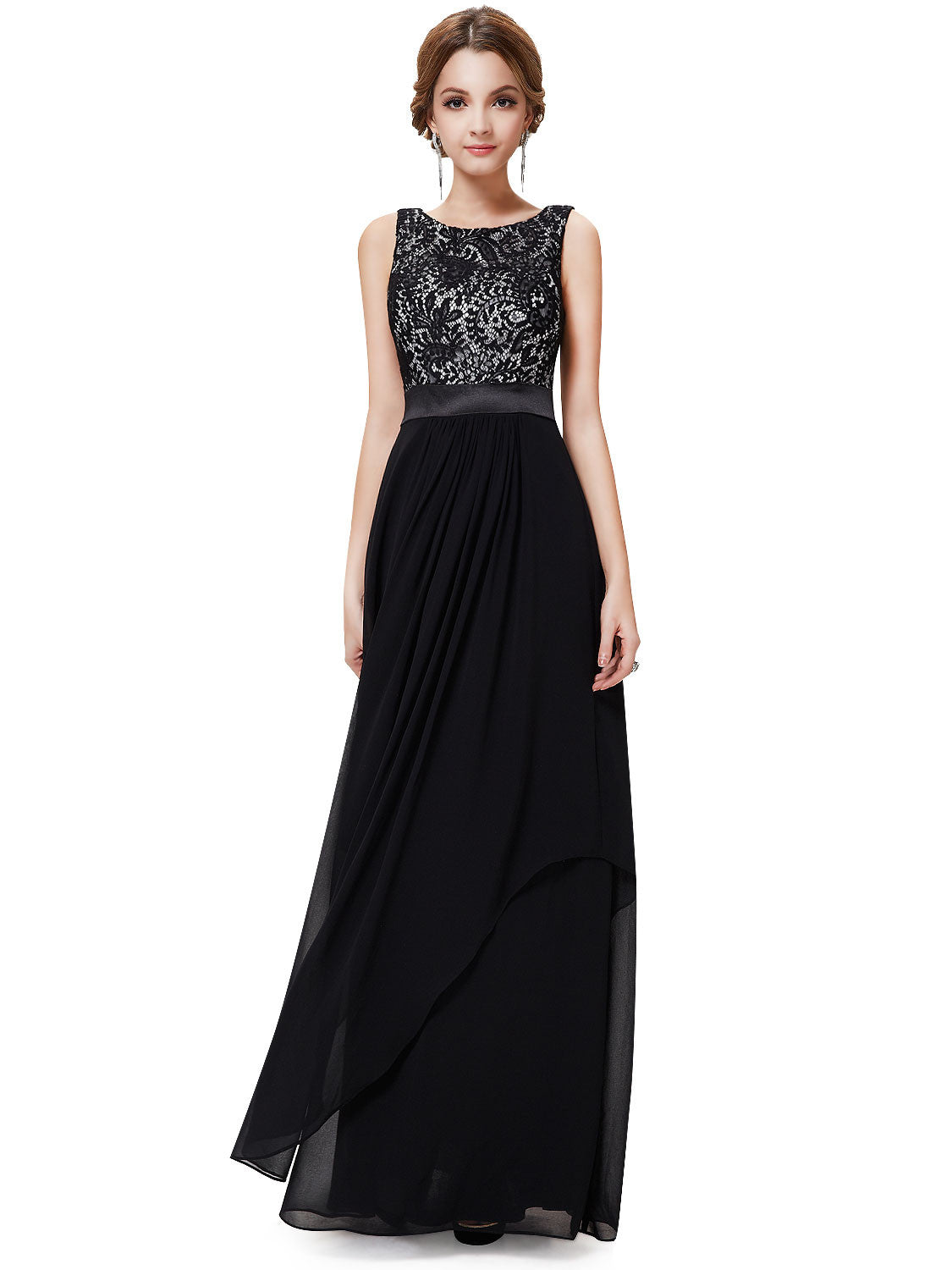 Sleeveless satin amp lace formal dress available in multiple colours