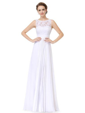 A Line Maxi with White Floral Applique Formal Dress